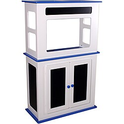 White and Blue Fiberboard Chalkboard 29-gallon Aquarium Stand