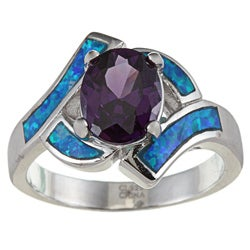 La Preciosa Sterling Silver Purple Oval-cut CZ and Created Blue Opal Ring