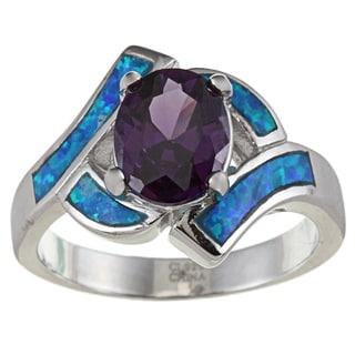 La Preciosa Sterling Silver Purple Oval-cut CZ and Created Blue Opal Ring