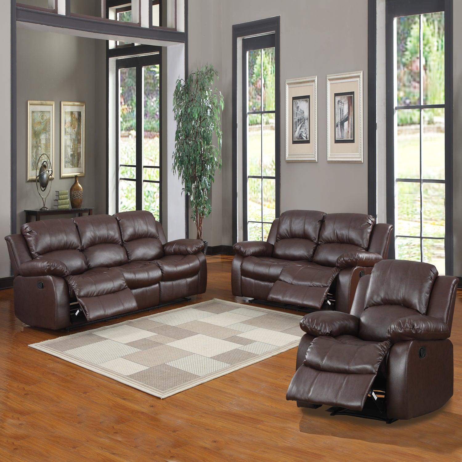Tribecca home coleford 3 piece tufted transitional Reclining living room furniture