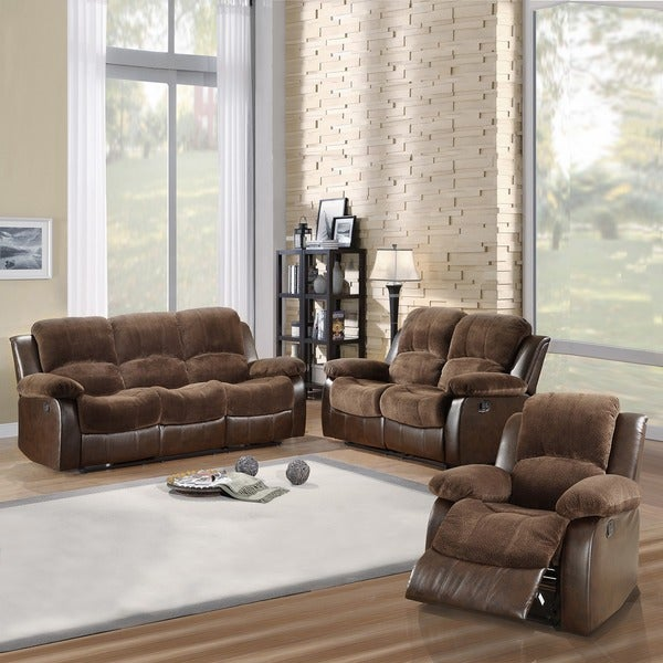 TRIBECCA HOME Coleford 3-piece Tufted Transitional Reclining Living Room Set