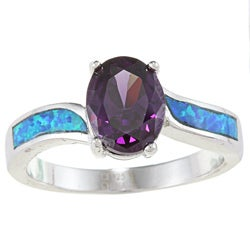La Preciosa Highly Polished Sterling Silver Purple CZ and Created Blue Opal Ring