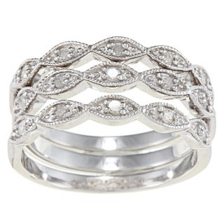 Silver 1/3ct TDW Diamond 3-piece Stackable Eternity Band Set (G-H, I2)