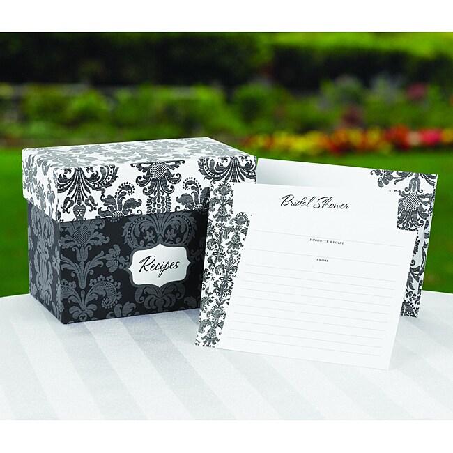 Damask Recipe Box Gift Set
