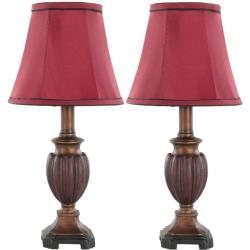 Indoor Chestnut Red Silk 1-light Table Lamps (Set of 2)