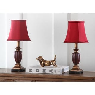 Safavieh Lighting 16-inches Hermione Urn Red Shade Table Lamp (Set of 2)