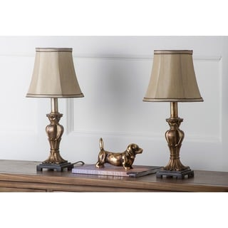 Safavieh Lighting 17-inches August Gold Silk Table Lamps (Set of 2)
