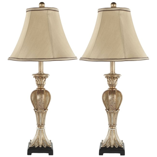 safavieh indoor lorax gold silk 1 light table lamps set. Black Bedroom Furniture Sets. Home Design Ideas