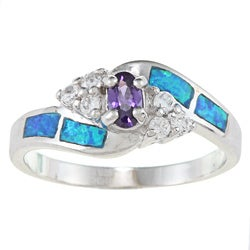 La Preciosa Sterling Silver Blue Opal with Clear and Amethyst Oval-cut CZ Ring