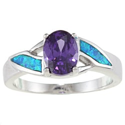 La Preciosa Sterling Silver Purple CZ and Fancy-cut Created Blue Opal Ring