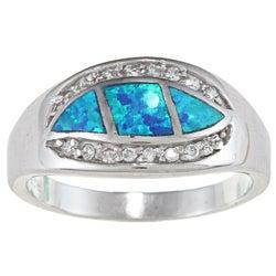 La Preciosa Sterling Silver CZ and Opal Wavy Marquise Ring