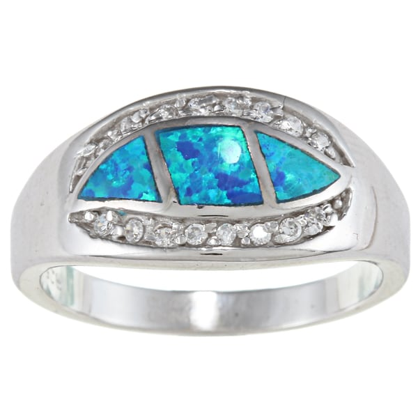 La Preciosa Sterling Silver CZ and Opal Wavy Marquise Ring