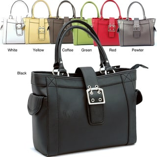Dasein Faux-leather Solid-colored Square Satchel Bag (9' x 12' x 4')