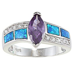 La Preciosa Sterling Silver Blue Opal with Clear and Amethyst CZ Ring