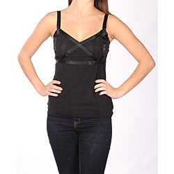 Norma Jeane Juniors Black Satin Cross Tank
