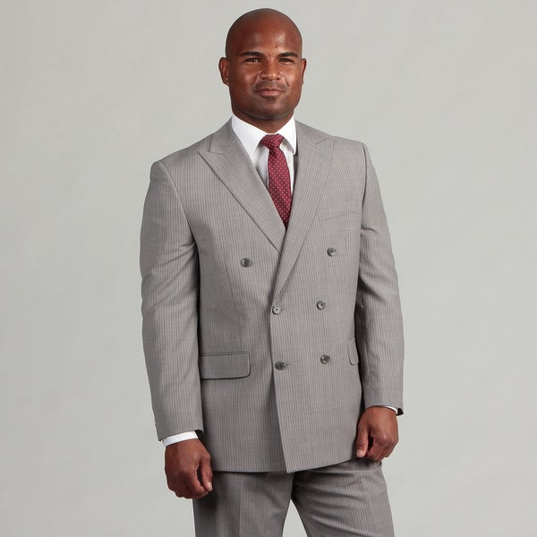 MICHAEL Michael Kors Men's Light Grey Pinstriped Double Breasted Wool Suit