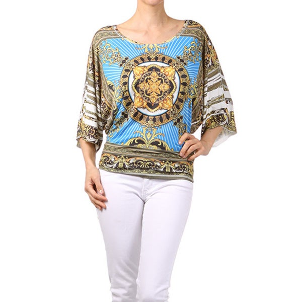 Tabeez Women's Thin Rhinestone Top in Medallion Print