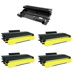 Brother 5-Pack 4 TN650 Compatible Black Toner Cartridges and 1 DR620 Drum Unit