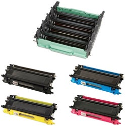 Brother 5-Pack TN115 Black, Cyan, Yellow, Magenta Compatible Toner Cartridges and 1 DR110 Drum Unit