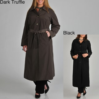 London Fog Women's Plus Belted Long Rain Coat