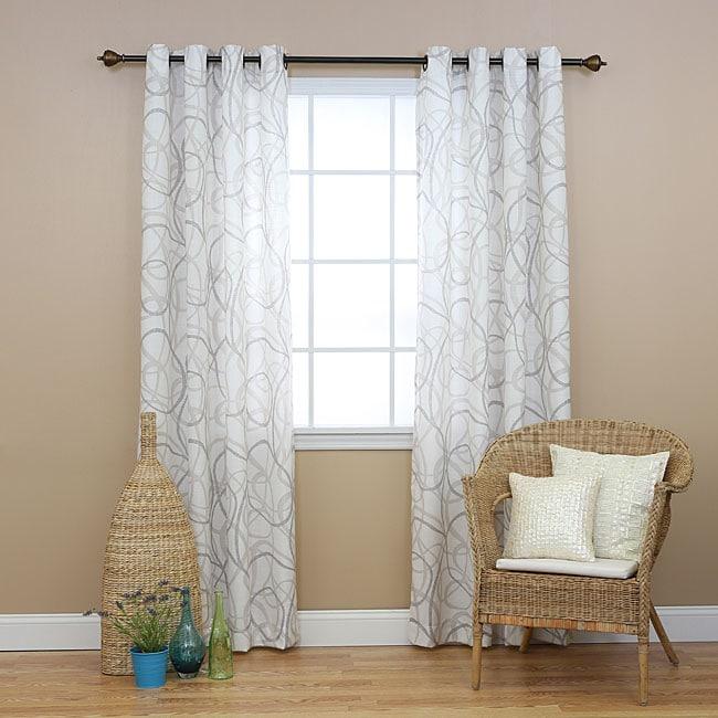 Aurora Home Tribal Print Faux Linen Grommet 84inch Curtain Pair