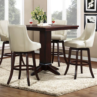 Vella Cream White Swivel Upholstered 5-Piece Pub Height Set