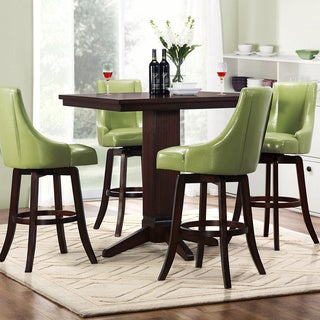 Vella Green Swivel Upholstered 5-Piece Pub Height Set