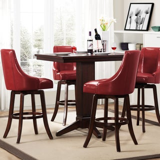 Vella Warm Red Swivel Upholstered 5-Piece Pub Height Set