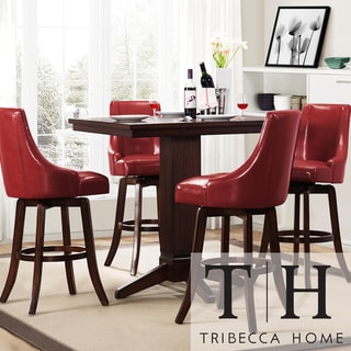 Tribecca Home Vella Warm Red Swivel Upholstered 5-piece Pub-height Set