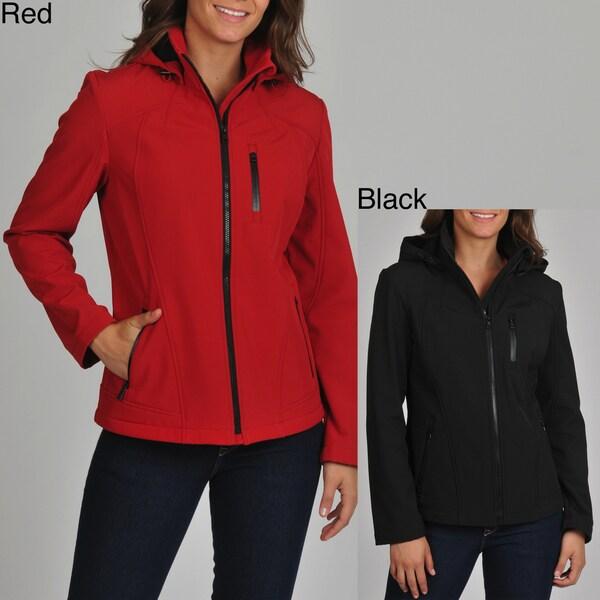 London Fog Women's Soft Shell Active Jacket with Detachable Hood