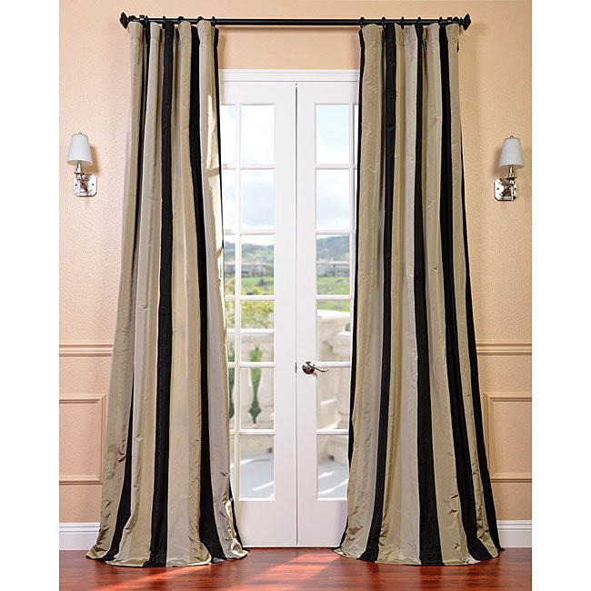 Signature Stripe Sake Faux Silk Taffeta Curtain Panel