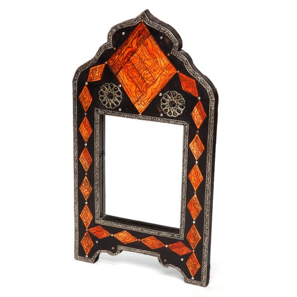 Inlaid Henna Bone Moroccan Mirror (Morocco)