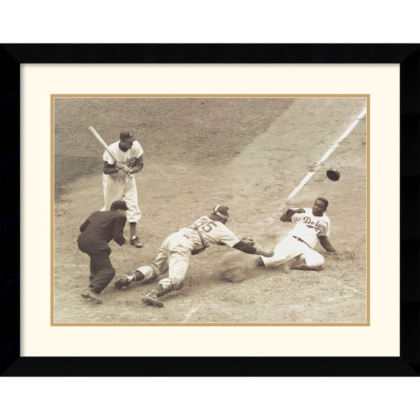Nat Fein 'Jackie Robinson Stealing Home, May 15, 1952' Framed Art Print