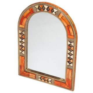 Hand-Carved Henna Bone Moroccan Mirror (Morocco)