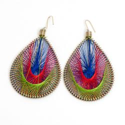 Multicolored Silk Thread Dangle Earrings (India)
