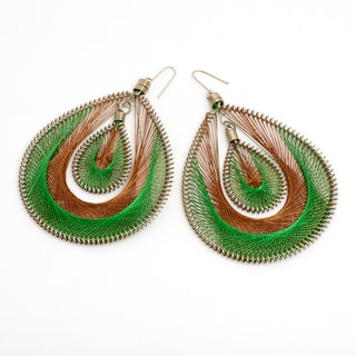 Green and Brown Silk Thread Earrings (India)