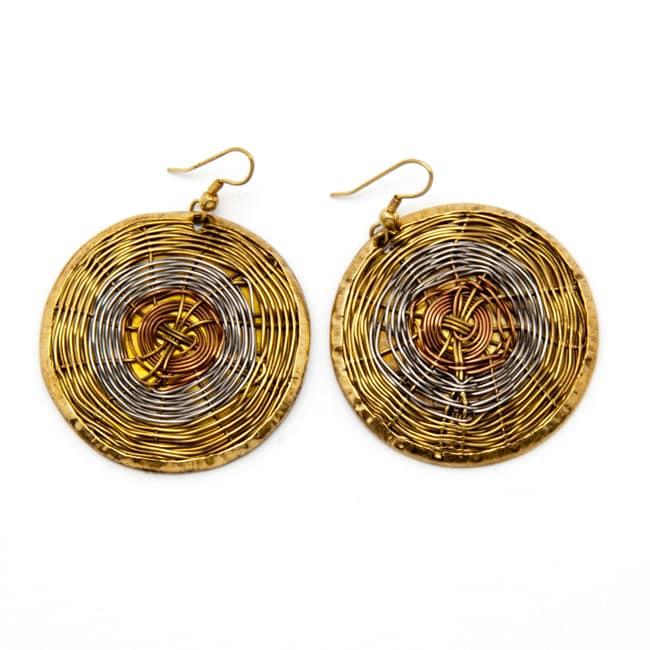 Wire Web Woven High-polish Copper/Brass-wire Dangle Earrings