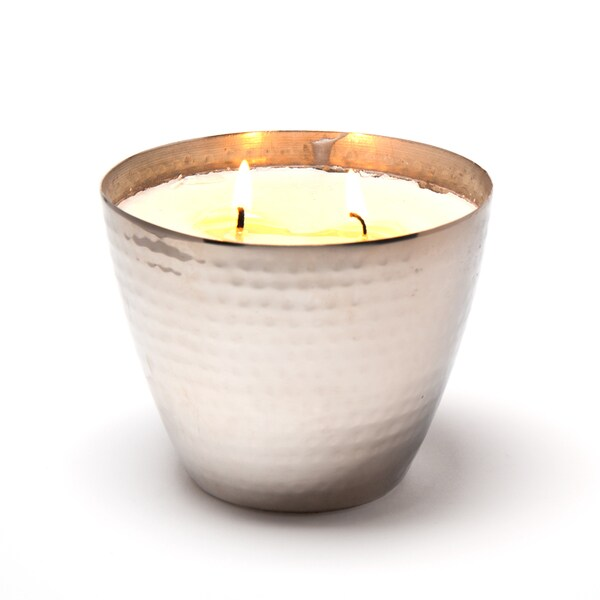 Hammered Nickelplated Brass Candle Vessel and Unscented Soy Wax Candle (India)