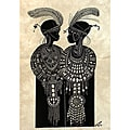 'Maasai Girls with Ostrich Feathers' Heidi Lange Screen Print (Haiti)