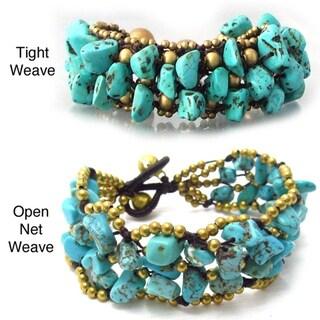 Handmade Blue Turquoise Nuggets Organic Net Bracelet (Thailand)