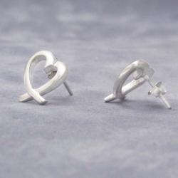 Wavy Open Loving Heart .925 Silver Post Earrings (Thailand)