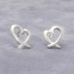 Wavy Open Loving Heart .925 Silver Post Earrings (Thailand)