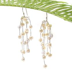 Striking Waterfall Freshwater White Pearl Silver Earrings (Thailand)