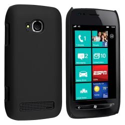 Black Rear Snap-on Rubber Coated Case for Nokia Lumia 710