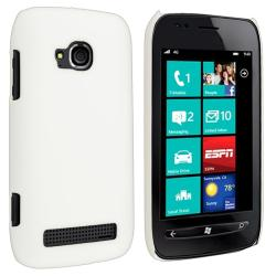 White Rear Snap-on Rubber-Coated Plastic Case for Nokia Lumia 710