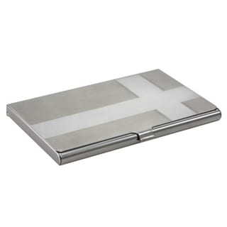 Zodaca Brushed-silver Business Card Holder with Chrome Cross