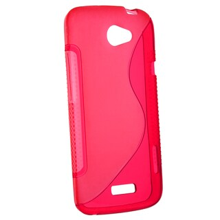 Red S Shape TPU Rubber Skin Case for HTC One X