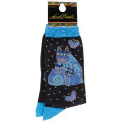 Laurel Burch Socks-Indigo Cats
