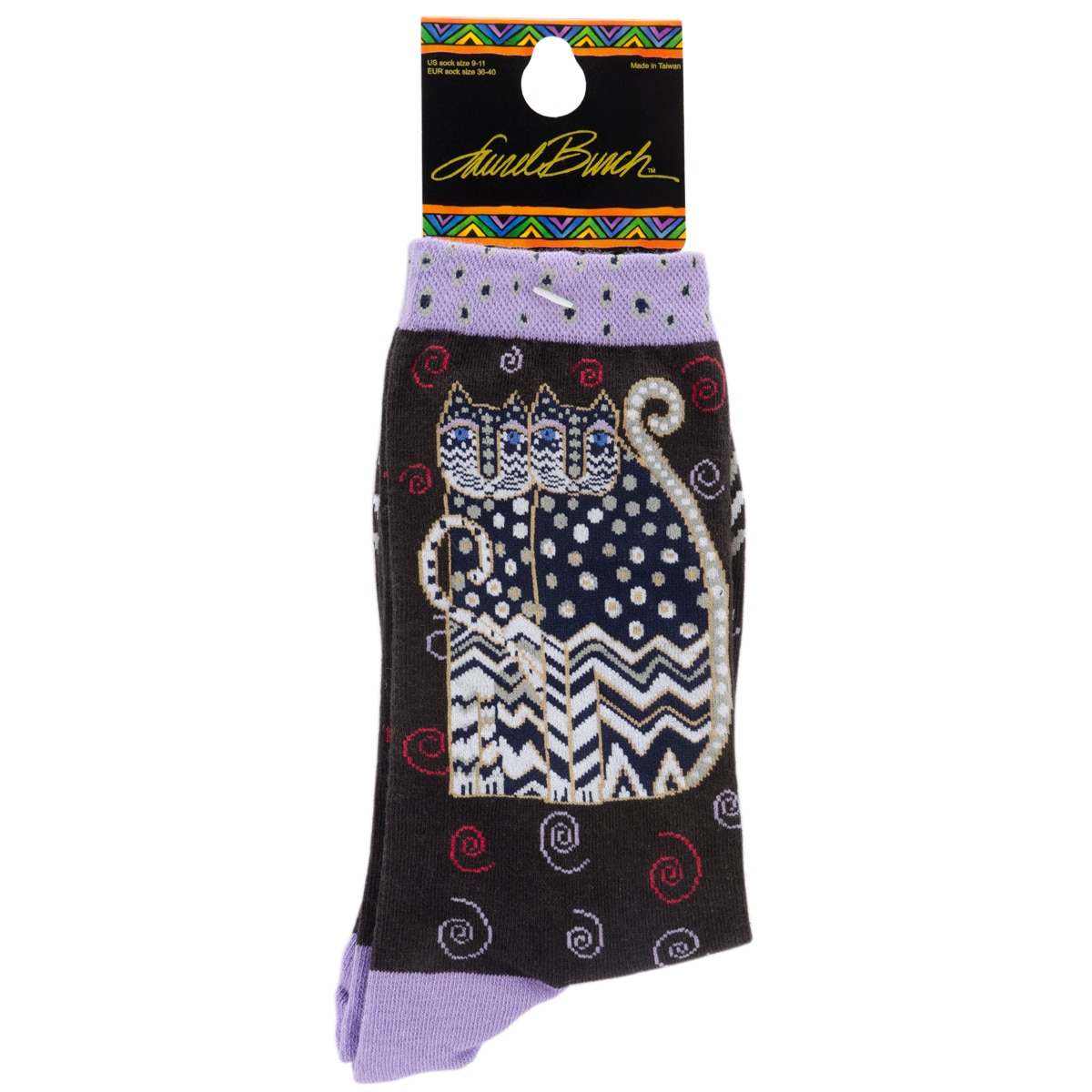Laurel Burch Socks-Polka Dot Gatos