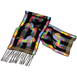 Laurel Burch Scarves-Rainbow Horses W/Fringe